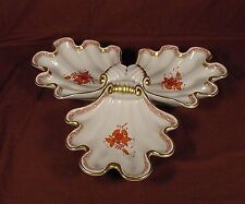 LARGE Herend Chinese Bouquet Rust 3 Part Server 16""