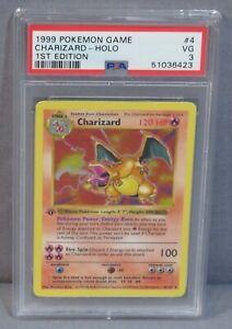 "Pokemon ""CHARIZARD"" Shadowless 1st Edition 4/102 PSA 3 VG Base Set 1999 First"