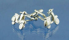 Silver Scooter Cufflinks With Gift Pouch Moped 60S Mod Scene Bike Present New