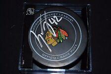 GUSTAV FORSLING SIGNED OFFICIAL NHL HOCKEY PUCK AUTO - CHICAGO BLACKHAWKS - COA