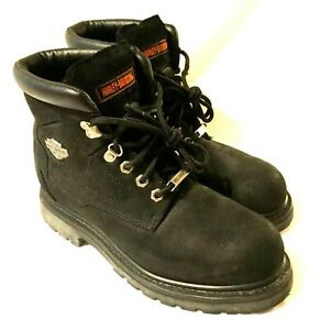 MEN'S SIZE 8.5 HARLEY DAVIDSON MOTORCYCLE BOOTS Black Suede Leather Lace Up