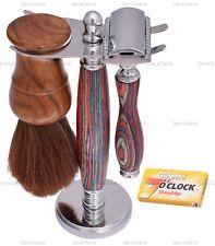 Máquina de afeitar hombres conjunto de madera de múltiples Kit de Afeitado Cepillo de Pelo de Caballo soporte de cabeza Dual