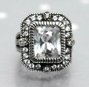 Designer unsigned Heidi Daus? Sterling Silver Glass & Cubic Zirconia Ring Size 5