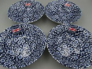 Churchill Wessex China England CALICO Dark Blue Cereal Bowls - Set of Four