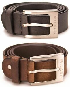 "MENS LEATHER BELTS REAL 1.5""  FULL GRAIN JEANS BELT BLACK BROWN GENUINE MILANO"