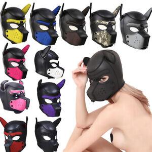 Neu Hundemaske Puppy Neopren Kopfmaske Maske etisch Dog Play Spielzeug Geschenk