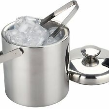 Large Double Walled Stainless Steel Insulated Ice Bucket With Tongs Lid Drain