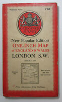 1945 OS Ordnance Survey New Popular Ed one-inch DISSECTED map 170 London S W