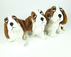 Lot of 3 Applause Hush Puppies Plush Magnet Mini Basset Hound Dogs NEW