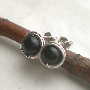 ONYX Ohrstecker 925 Silber, schwarze eingefasste Ohrringe Sterlingsilber d814