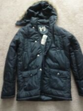 Guess Black Faux Fur Hooded  Puffer Jacket Womens Size Large