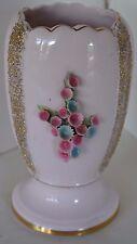 Vintage Lefton Pink Bumpy Flower Gold Vase