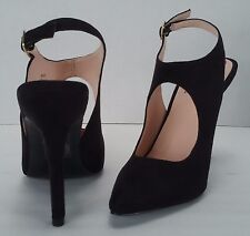 SIGNATURE Sandals Suede Pointed Toe Slingback Pumps Heels Ankle Strap Size 6.5 M