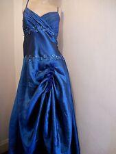 STUNNING VINTAGE BLUE TAFFETA VICTORIAN BUSTLE RIDING GLAMOUR GOWN DRESS 16