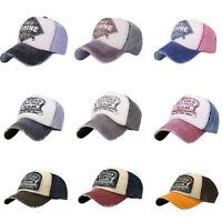 Men Women Ball Adjustable Cap Denim Distressed Bill Vintage Baseball Hat Trucker