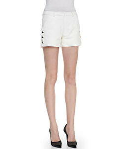 $450 NEW Tamara Mellon Leather Shorts with Snap Sides Cream Ivory Short 8