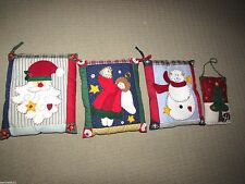 Primitive Country Patchwork  Christmas Pillows Set 4 Santa Snowman Angel Tree