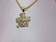 "14 KT GOLD PLATED #1 GRANDMA CHARM &  18"" ROPE CHAIN -2110 LIFETIME GUARANTEE"