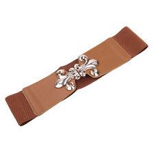 Premium Gold Fleur de lis Buckle Wide Elastic Stretch Waist Belt Waistband
