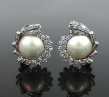 Vintage 3.0ct Diamond & Mabe Pearl Platinum Clip Earrings