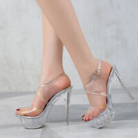 Platform Crystal Clear Sandals Crossdresser Heels Drag Queen Large Shoes Plus Sz