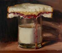 """PBJ & Glass of Milk"" NOAH VERRIER Still life painting, Signed fine art print"