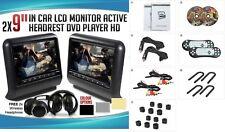 "2018 BLACK DUAL DIGITAL UNIVERSAL 9"" LCD SCREEN HEADREST MONITOR DVD PLAYERS"