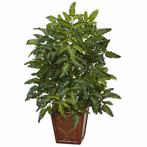 """Bracken Fern In Wooden Planter Realistic Nearly Natural Home Decoration 32"""" Tall"""