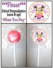 24 Despicable Me Girl Minions Birthday Party or Baby Shower Lollipop Stickers
