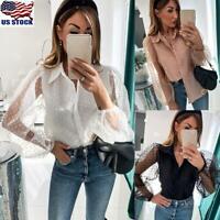 Women Long Puff Sleeve Mesh Sheer Tops Shirt Ladies V Neck Button Down Blouse US