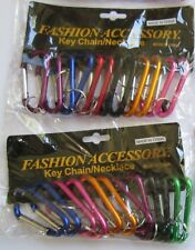 "24 Carabiners Aluminum Alloy D Screw Lock Carabiner Clip Hook Key-Chain, 2 3/4"""
