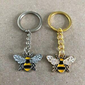 Handmade Bee key ring keychain keyring fob bag charm silver or gold tone enamel