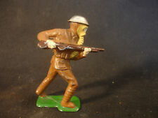 Old Vtg Lead Military Soldier With Gas Mask Helmet Holding Rifle Train Garden
