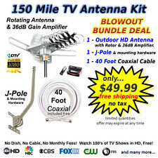 Rotating Outdoor TV Antenna Bundle Kit with Antenna, Amp, Pole & 40' Cable.