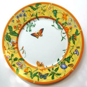 Hermes Dinner Plate Siesta Tableware Dish Yellow Floral Porcelain Auth New 11