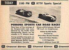 1961 KTTV TV AD~POMONA SPORTS CAR ROAD RACES~LOTUS~MASERATI~FERRARI~COOPER