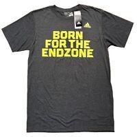 "NWT ADIDAS ""BORN FOR THE END ZONE"" T SHIRT  Color:MED GREY/DARK GREY  Sz: M/L"