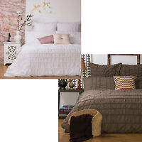 3 Pce - TUSCANY Rouched Quilt Doona Duvet Cover Set QUEEN KING