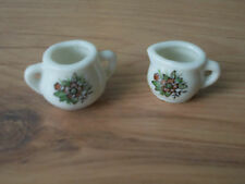 Vintage 1960s Child's Doll's House China Milk Jug & Sugar Bowl Floral - VGC