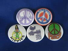 HIPPIE WOODSTOCK MUSIC PEACE 5 PINS Pinbacks Buttons VW