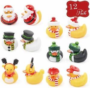 12x Christmas Xmas Rubber Ducks Children Bath Toy Loot Filler Novelty Gift Santa