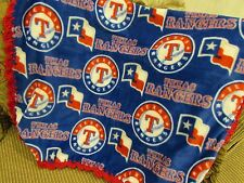 Baby Girl or Baby Boy Blanket Small Texas Rangers Baseball Fleece Crochet Edge