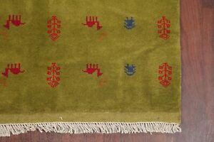 PEAR GREEN Little Animal/Figure Tribal Nomadic Gabbeh Area Rug Hand-made 4' x 5'
