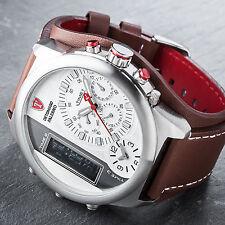 DETOMASO Palermo Mens Wrist Watch XXL Chronograph Alarm 3 Time Zones Brown New