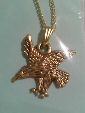 """ENAMEL GOLD PLATED ALLOY""""GOLDEN EAGLE"""" PENDANT ON 18"""" INCHES NECKLACE CHAIN"""