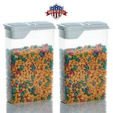 2 Pack 4 Qt Cereal Snack Keeper Food Storage Dispenser Container Flip Top Lid