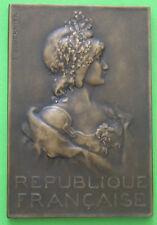 MEDAILLE Art Nouveau Marianne par S.E. Vernier 74x50mm Bronze 116gr