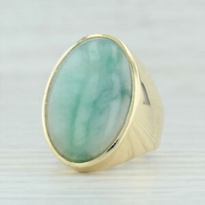 Green Jadeite Jade Ring 18k Yellow Gold Size 12.5 Men's Oval Stone