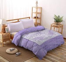 Indian Jaipuri Rajai Silk Satin Floral Quilt Queen Bedspread Reversible Blanket