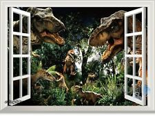 Jurassic World Dinosaur Park 3D Window Wall Decals Removable Stickers Kids Decor